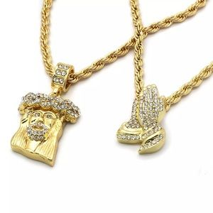 14K Gold Iced Out Praying Hands Jesus Rope Chain